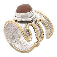 Carnelian wrap ring, 'Charm' - Modern Sterling Silver and Carnelian Wrap Ring
