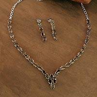 Smoky quartz jewelry set, 'Evening Mist' - Smoky quartz jewelry set