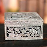 Soapstone jewelry box, 'Floral Garland' - Hand Carved Jali jewellery Box from India