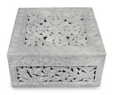Hand Carved Jali Jewelry Box from India