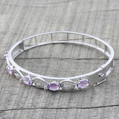 Amethyst bangle bracelet, 'Whisper' - Handcrafted Silver Bangle with Faceted Rose Quartz