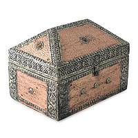 Brass jewelry box, 'Palatial' - Repousse Mango Wood jewellery Box
