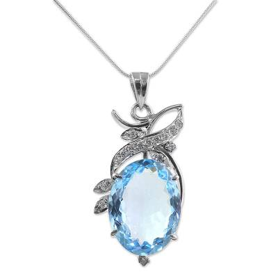 Blue Topaz Pendant Necklace with Cubic Zirconia
