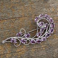 Amethyst brooch pin, 'Purple Paisley' - Floral Sterling Silver Amethyst Brooch Pin Indian Jewelry