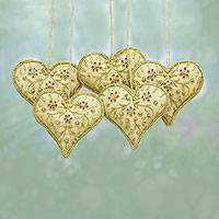 Beaded ornaments, 'Floral Heart' (set of 5)