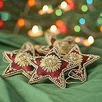 Beaded ornaments, 'Scarlet Stars' (set of 5) - Red Star Shaped Beaded Tree Ornaments from India (Set of 5)