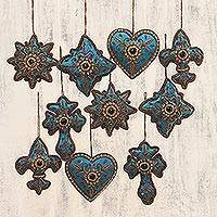 Beaded ornaments, 'Teal Joy' (set of 10) - Teal Hand Crafted Beaded Ornaments from India (Set of 10)