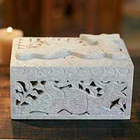 Soapstone jewelry box, 'Majestic Dragon' - Artisan Crafted Indian Openwork Soapstone Jewelry Box
