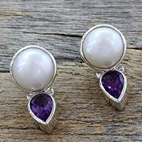 Pearl and amethyst drop earrings, Flirting Moons