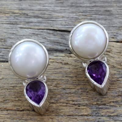 Cultured pearl and amethyst drop earrings, 'Flirting Moons' - Hand Crafted Pearl and Amethyst Earrings from India