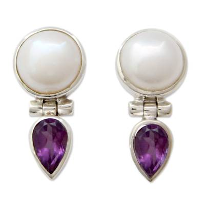 Hand Crafted Pearl and Amethyst Earrings from India