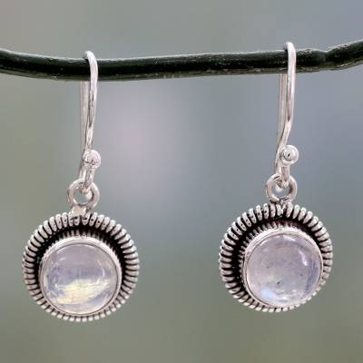Moonstone dangle earrings, 'Moon Over India' - Artisan Crafted Moonstone Sterling Silver Women's Jewelry