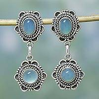 Chalcedony dangle earrings, 'Sky Blossom' - Chalcedony dangle earrings