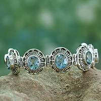 Topaz flower bracelet, 'Sky Blossom' - Sterling Silver Blue Topaz Bracelet Women's Jewelry