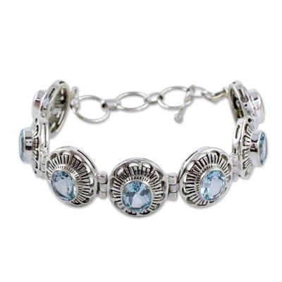 Sterling Silver Blue Topaz Bracelet Women