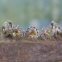 Citrine link bracelet, 'Lemon Blossom' - Handmade Citrine and Silver Bracelet Indian Jewelry