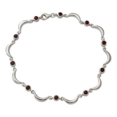 Artisan Crafted Sterling Silver and Garnet Ankle Jewelry