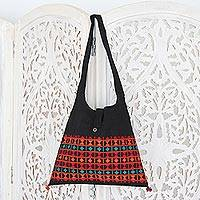Cotton shoulder bag, 'Vibrant Tease' - Embroidered Cotton Shoulder Bag