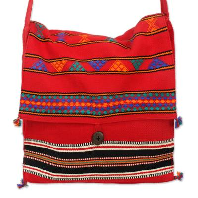 Cotton shoulder bag, 'Rajasthan Rapture' - Unique Hand Woven Cotton Shoulder Bag