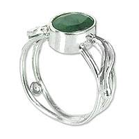Emerald solitaire ring, 'Winter Ivy' - Fair Trade Sterling Silver and Emerald Ring