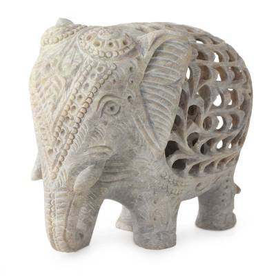 Soapstone sculpture, 'Mother Elephant' - Natural Soapstone Sculpture Carved by Hand