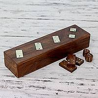 Wood box and dominoes, 'Leisure' - Wood Domino Set Handcrafted Game from India