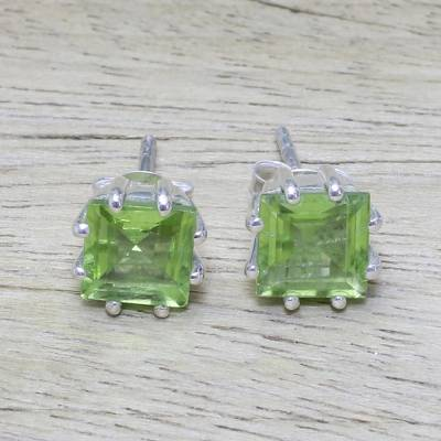 Peridot stud earrings, Lucky Squares