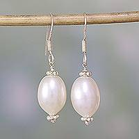 Pearl dangle earrings, 'Bliss' - Hand Crafted Bridal Jewelry Pearl Dangle Earrings