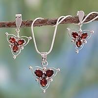 Garnet jewelry set, 'Crimson Clover' - Garnet jewelry set