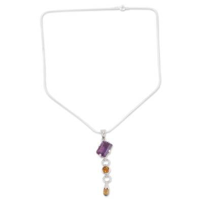 Citrine and amethyst pendant necklace