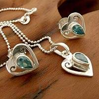 Sterling silver jewelry set, 'Twinkling Hearts' - Heart Jewelry Set Sterling Silver Earrings and Necklace
