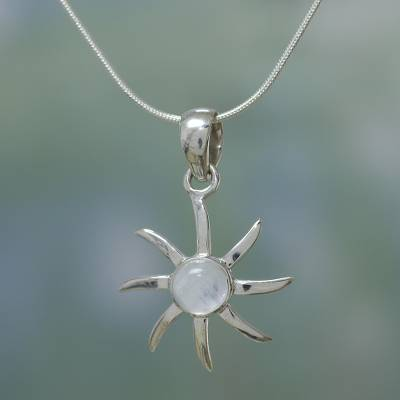 Rainbow moonstone pendant necklace, 'Rainbow Sun' - Moonstone and Sterling Silver Necklace Indian Jewelry