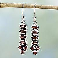 Garnet earrings, 'Incandescent Passion' (India)