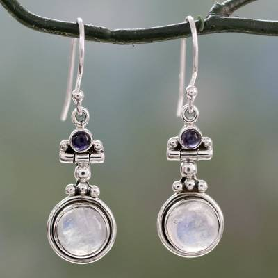 Rainbow moonstone and iolite dangle earrings, Misty Moon
