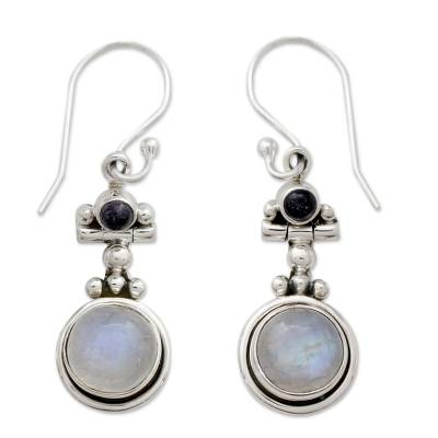 Fair Trade Sterling Silver Moonstone and Iolite Earrings