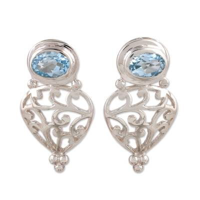 Blue topaz drop earrings, 'Sky Vine' - Blue topaz drop earrings