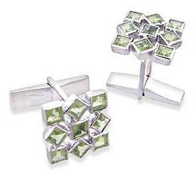 Cufflinks Artisan Crafted Sterling Silver Peridot