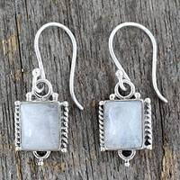 Moonstone dangle earrings, 'Mystic Sky' - Handmade Sterling Silver and Moonstone Earrings