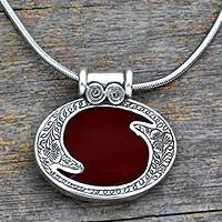 Carnelian pendant necklace, 'Royal Amulet' - Sterling Silver and Carnelian Necklace