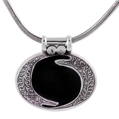 Onyx and Silver Necklace Modern India Jewerly
