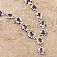 Garnet Y-necklace, 'Scarlet Splendor' - Garnet Y-necklace