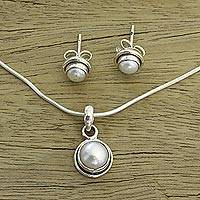 Pearl jewelry set, 'White Cloud' - Pearl Bridal Jewelry Set in Silver