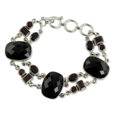 Onyx Link Bracelet with Garnet and Sterling Silver