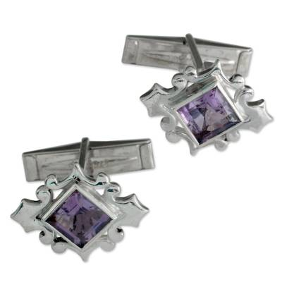 Amethyst Cufflinks Sterling Silver 925 Handmade Men Jewelry