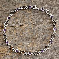Amethyst anklet, 'Elegant Simplicity' - Fair Trade Jewelry Amethyst Sterling Silver Anklet