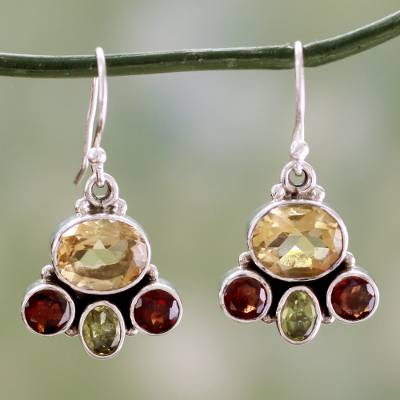 Garnet and citrine earrings, 'Harmony' - Natural Gemstones in Sterling Silver Earrings