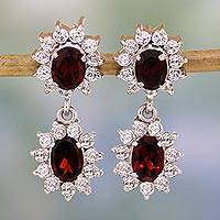 Garnet earrings, 'Glorious Red' - Garnet earrings