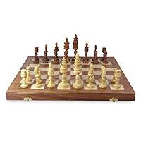 Wood chess set, 'Palatial Challenge' - Wood Chess Set Hand Crafted Game