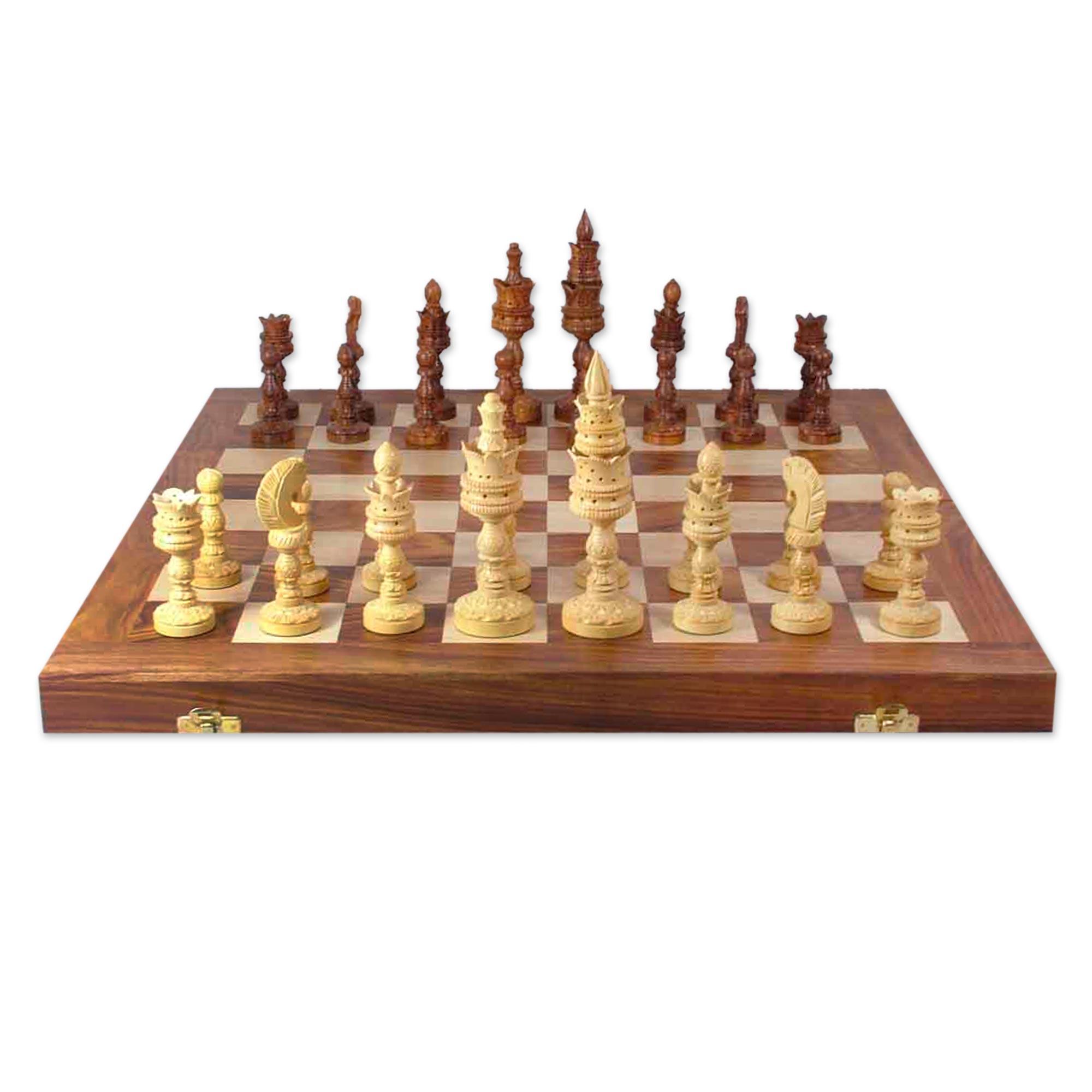 Unicef uk market wood chess set hand crafted game for Hand crafted chess set