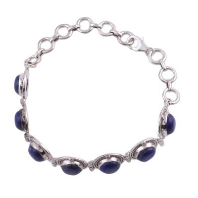 Fair Trade Lapis Lazuli Bracelet Sterling Silver Links